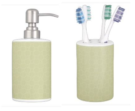 Circles On Icy Jade Green Soap Dispenser and Toothbrush Holder Bathroom Set on DogwoodAndThistle.com
