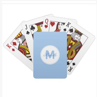 cerulean blue simple medallion playing cards