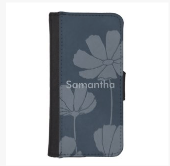 navy or dark blue cosmos phone wallet