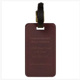 stamped mottled brown luggage tag on dogwoodandthistle.com