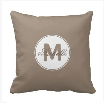 Umber brown simple medallion accent pillow