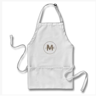 Umber brown simple medallion apron
