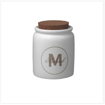 umber brown simple medallion candy jar