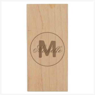 umber brown simple medallion maple wood usb flash drive