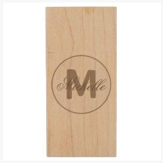 umber brown simple medallion maple wood usb flash drive