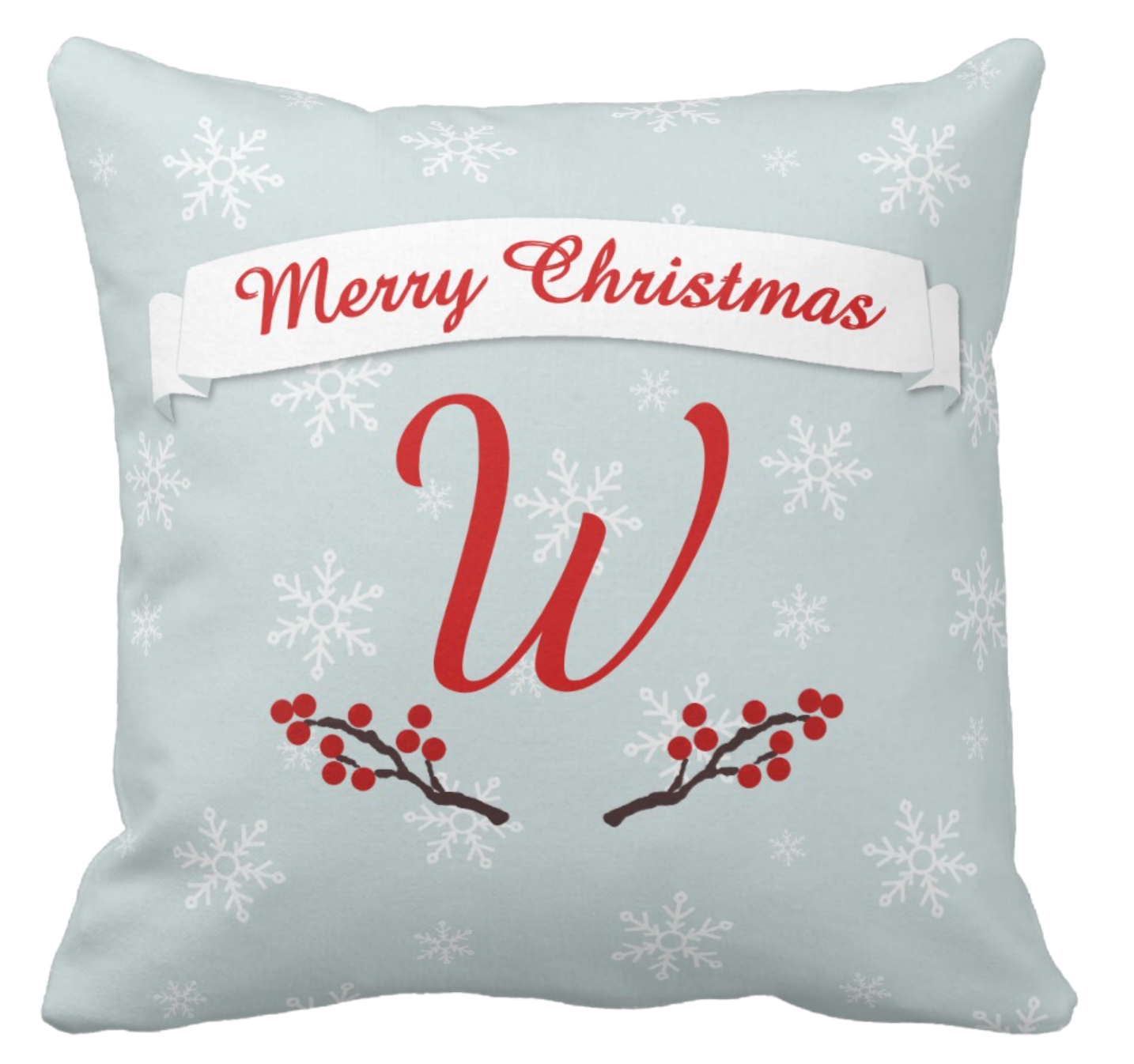 Winterberries Pillow with Monogram
